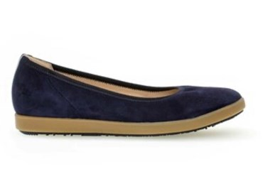 Gabor Navy Sued Ballerina with red strip on heel
